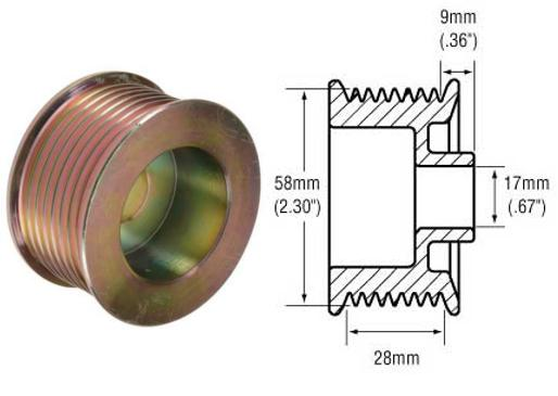 Serpentine Belt Pulley Groove Dimensions : Groove pulley for ford g series alternators used on  lincoln replaces