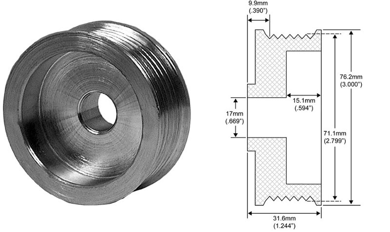 Serpentine Belt Pulley Groove Dimensions : Groove pulley for delco si series alternators dimensions mm belt rib od