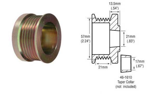 Serpentine Belt Pulley Groove Dimensions : Part groove pulley w collar for delco si cs and other alternators dimensions