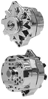 Part # D110SICSE105 Chrome 105 Amp GM Delco-Remy 10-SI type Alternator, 12  Volt Negative Ground W/Self-exciting Internal Regulator
